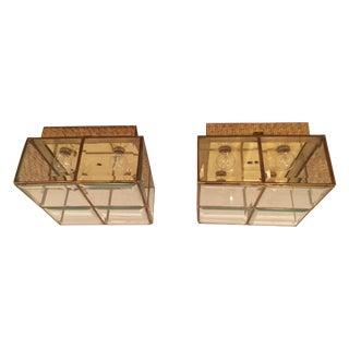 Lightolier Vintage Flush Cube Lights - A Pair
