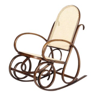Vintage Bentwood Cane Rocking Chair In The Style of Michael Thonet