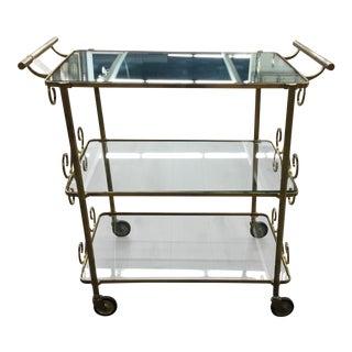 1950s Vintage Brass Bar Cart