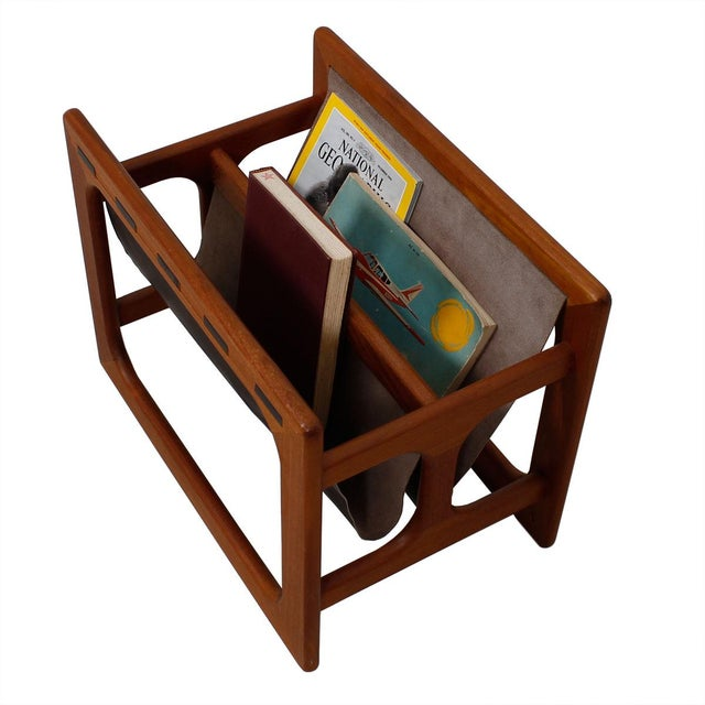 Danish Modern Teak & Leather Magazine Rack - Image 8 of 8