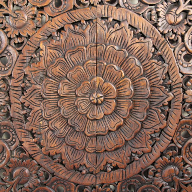 "Dark Wax Carved Square Panel 48"" - Image 2 of 3"