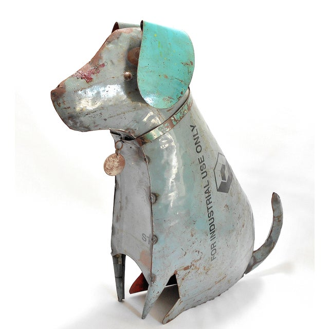 Recycled Metal Dog Sculpture - Image 2 of 8