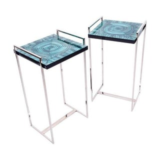 Faux Malachite Tables - Pair