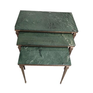 French Brass/Bronze Marble Top Nesting Tables- S/3