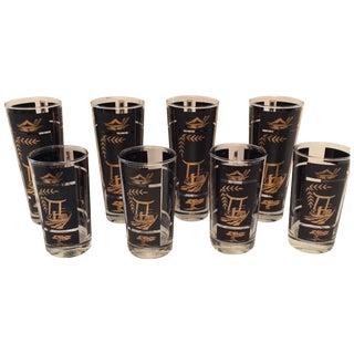 Mid Century Black & Gold Highball Glasses - S/8