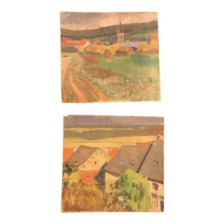 Vintage French Provincial Landscapes of Roof Tops & Village - A Pair