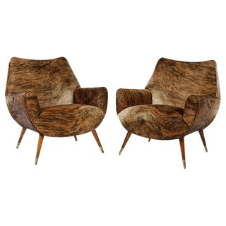 Mid-Century Modernist Cowhide Chairs - Pair