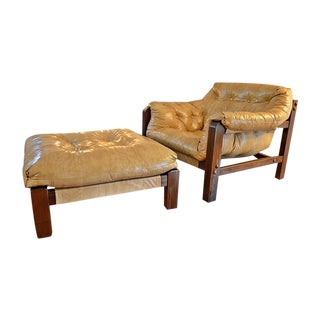 Mid-Century Lafer Style Sling Chair & Ottoman