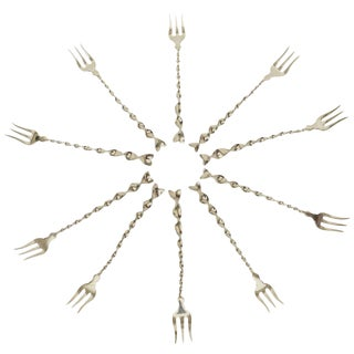 "Set of Ten Hallmarked Sterling Silver ""Twist and Ball"" Cocktail or Serving Forks"