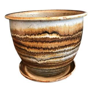 Studio Pottery Planter & Drainage Dish