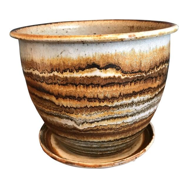 Studio Pottery Planter & Drainage Dish - Image 1 of 7