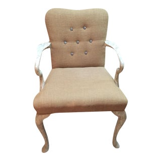 Tufted Burlap Accent Chair