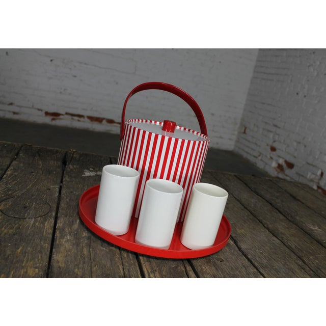 Mid-Century Red & White Ice Bucket, Tumblers and Tray Beverage Set - Image 4 of 11