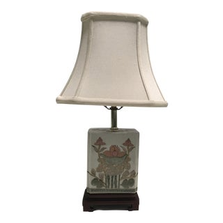 Hand-Painted Chinoiserie Lamp With Shade