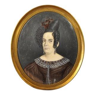 19th C. Portrait Miniature of a Woman