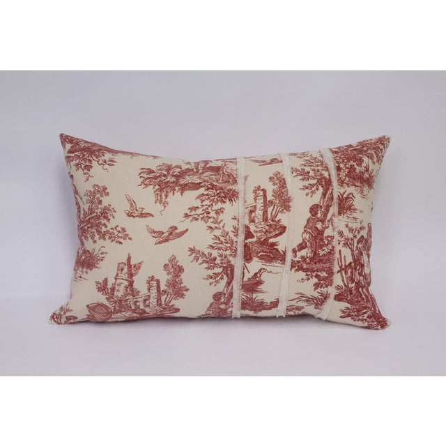 Deconstructed Red & Cream Toile Pillow - Image 2 of 5