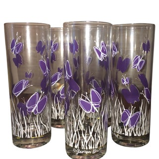 Georges Briard Purple Butterfly Glasses - Set of 5