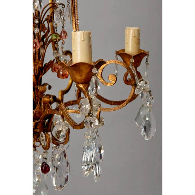 1920's Italian Four Light Crystal Chandelier With Colored Drops - Image 5 of 7