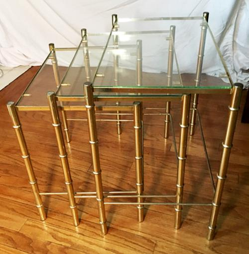 Hollywood Regency Faux Bamboo Brass U0026 Glass Nesting Tables   S/3   Image 2