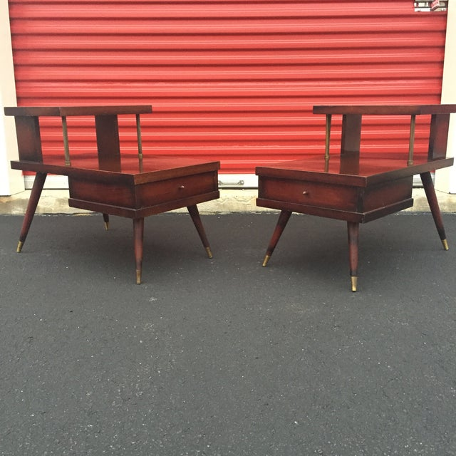 Mid-Century Mahogany End Tables - A Pair - Image 2 of 11