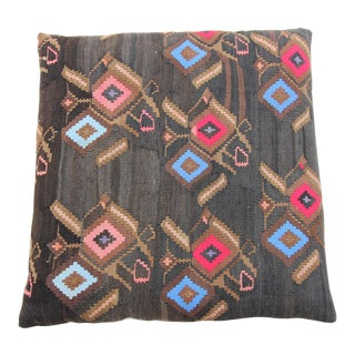 Vintage Turkish Tribal Kilim Rug Floor Pillow & Dog Bed 36'' x 36