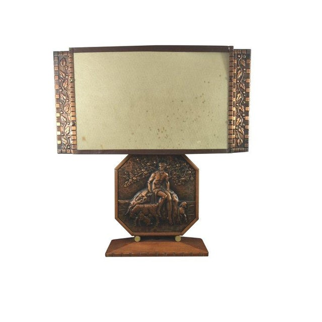 Art Deco Wood & Copper Male Shepherd Lamp - Image 1 of 4