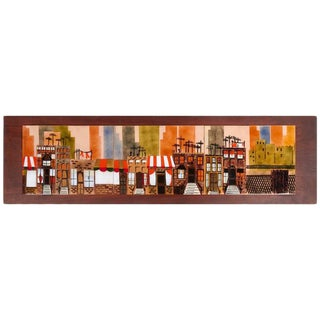Charming Enameled Cityscape Wall Art