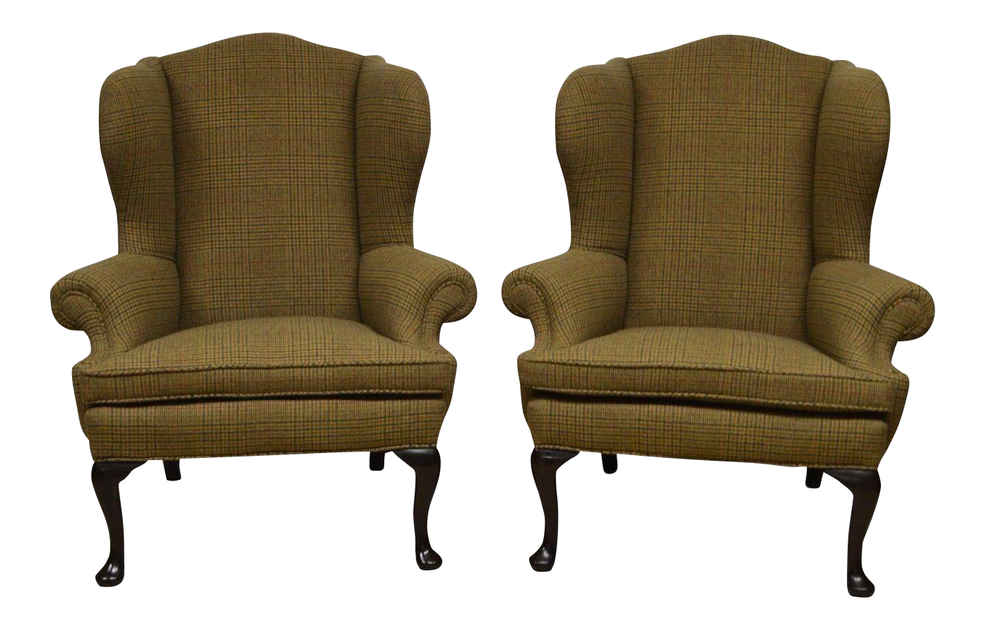 ralph lauren upholstered wingback chairs a pair