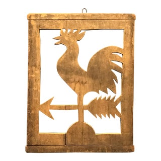 19th C. Wooden Rooster Weathervane