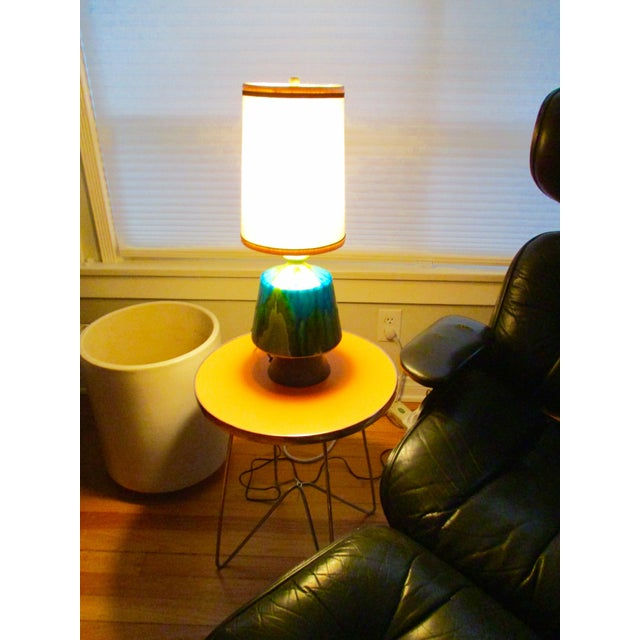 Mid-Century Modern Turquoise Ceramic Table Lamp - Image 5 of 11