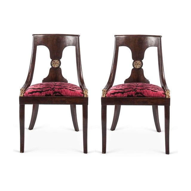 Image of French Empire Chairs in Pink 'Tigre' Fabric - Pair