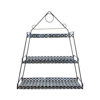 Mid-Century Black 3 Tier Wire & Mesh Metal Shelf