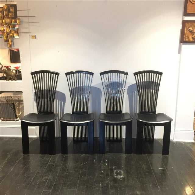 Pietro Costantini Black Lacquered Dining Chairs Set Of 6