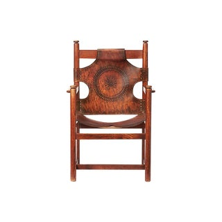 Handsome Leather & Rosewood Occasional Chair