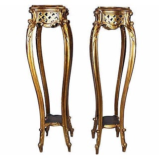 French Carved & Gilded Pedestals - A Pair
