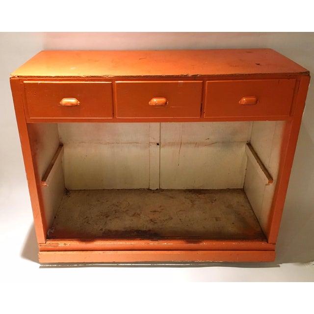 Vintage Orange Rustic Storage Cabinet - Image 2 of 4