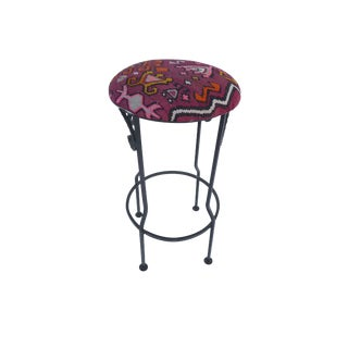 Hand Wrought Iron Turkish Kilim Bar Stool