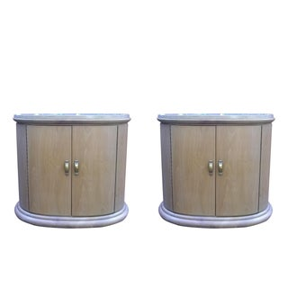 Art Deco Modern Wood Travertine Cabinets - A Pair