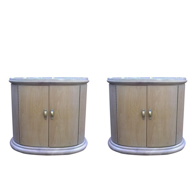 Image of Art Deco Modern Wood Travertine Cabinets - A Pair