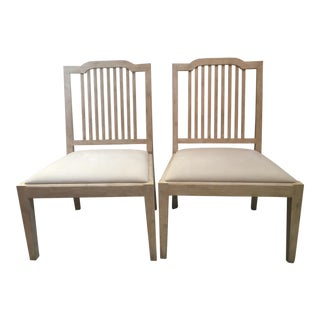 David Iatesta Georgetown Ivory Suede & Maple Wood Side Chairs - A Pair