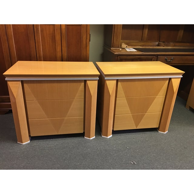 Georgio Collection Parquet Nightstands - A Pair - Image 2 of 7
