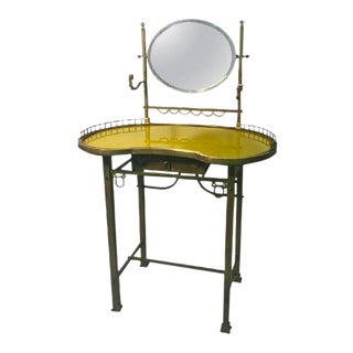 19th Century French Vanity With Hand-Painted Yellow Glass Top