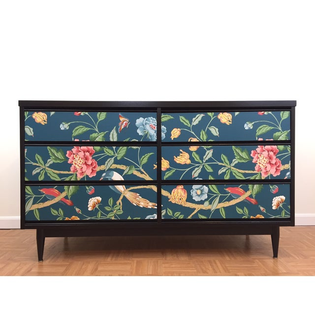 Asian Printed Mid-Century 6-Drawer Dresser - Image 2 of 6