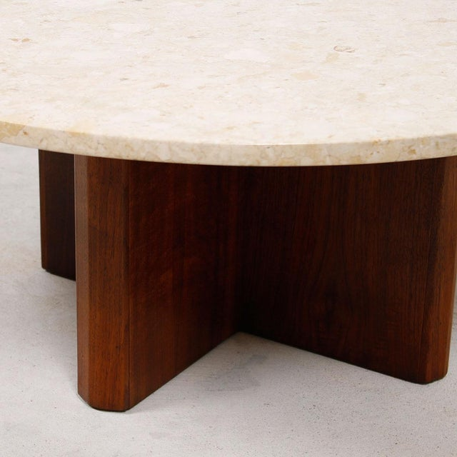 "Travertine Marble Top Coffee Table with ""X"" Base - Image 9 of 9"
