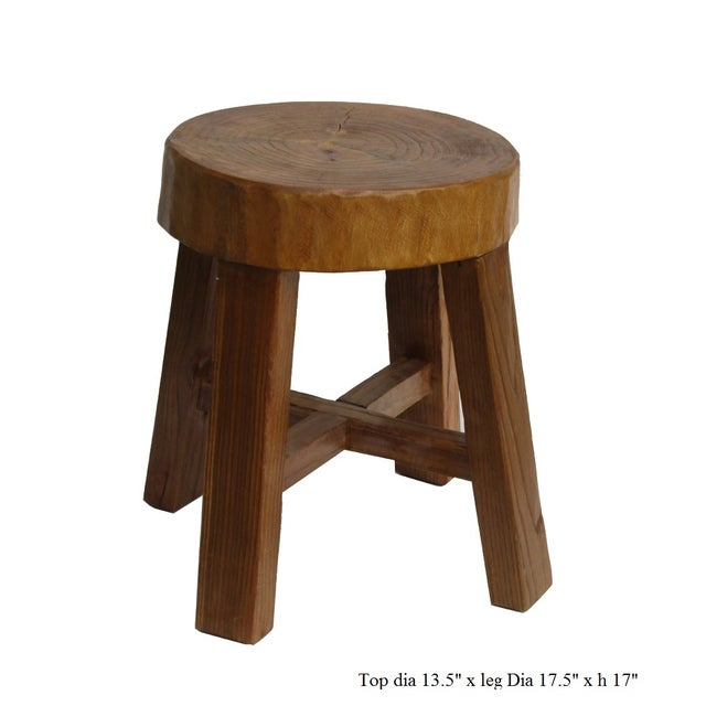 Chinese Rustic Bold Wood Round Stool - Image 5 of 5