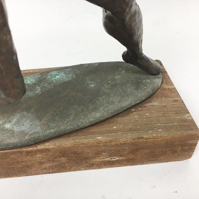 Vintage Twila Albers Bronze Figure Throwing Spear - Image 6 of 8