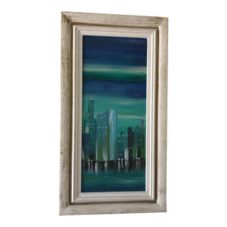 Framed Vintage Twilight Cityscape Painting