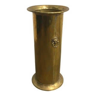 Vintage Brass Lion Umbrella Cane Stand Holder