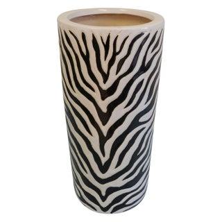 Zebra Print Porcelain Glazed Umbrella Stand