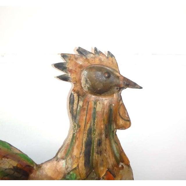 Fantastic Original Painted Folk Art Full Body Rooster Sculpture - Image 4 of 7